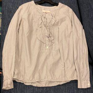 Loft grey and white blouse size M with ruffle bib